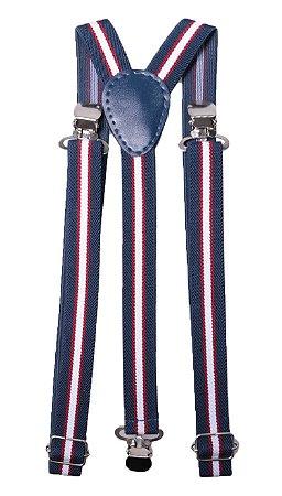 Suspensório Azul Listras Vermelha e Branca Couro azul 2,5cm