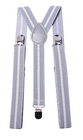 Suspensório Cinza Listra Branca Couro Cinza 2,5cm