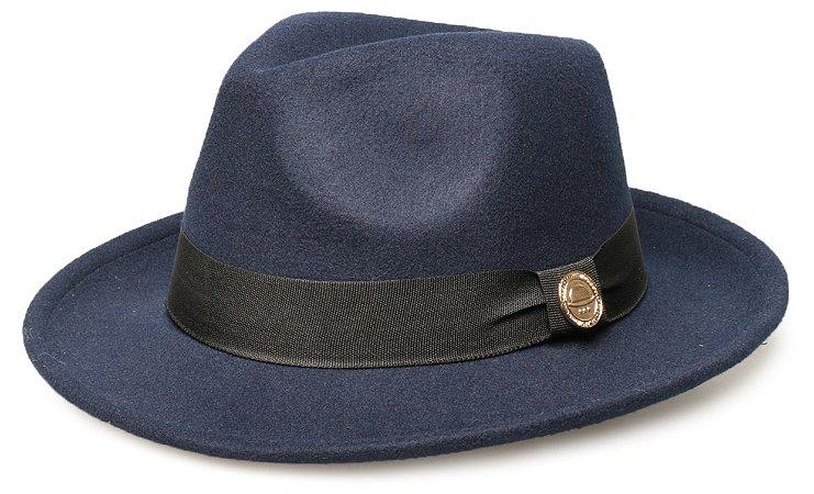 Chapéu Fedora Azul Marinho Aba Média 6cm