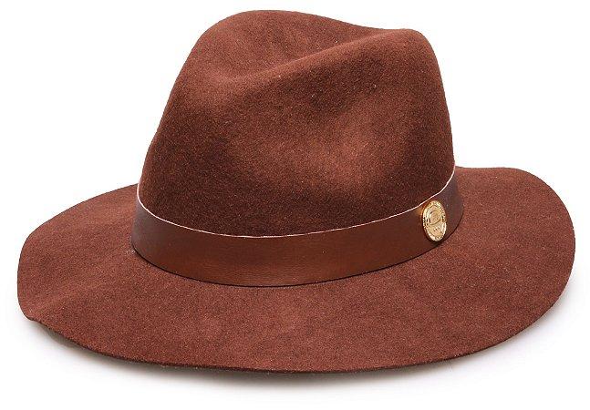 Chapéu Fedora Marrom 100% lã Aba Maleável 7cm Coleção Couro