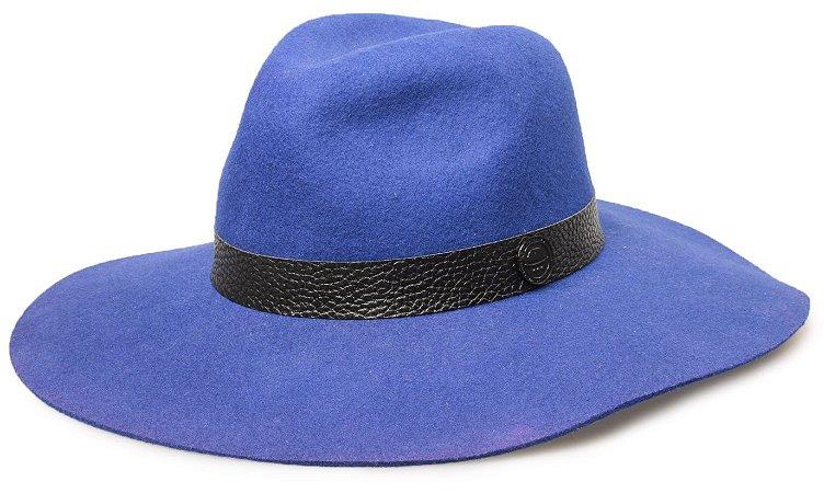 Chapéu Azul Fedora 100% lã Aba Maleável 10cm Coleção Couro