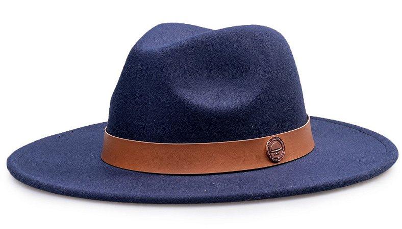 Chapéu Fedora Azul Marinho Aba Reta 7cm Feltro Faixa Coleção Couro