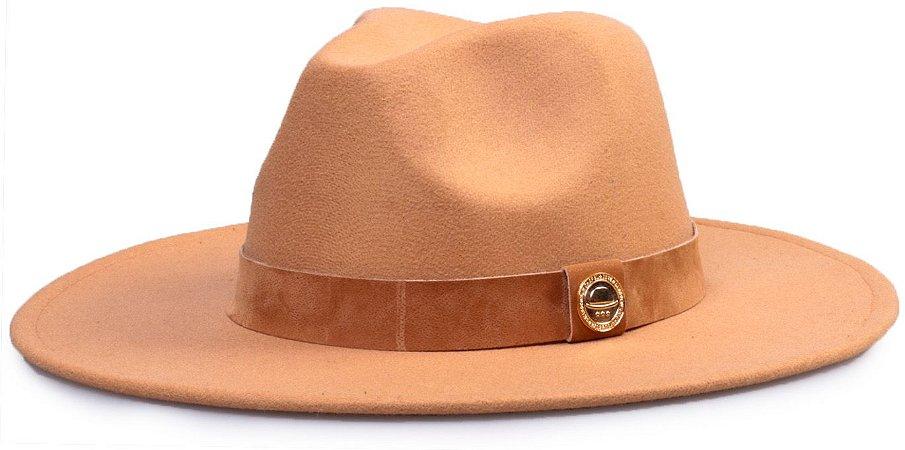 Chapéu Fedora Faixa Nobuck aba 8cm Bege