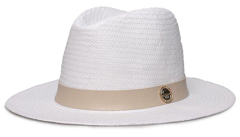Chapéu Palha Shantung Branco Aba média Coleção Couro
