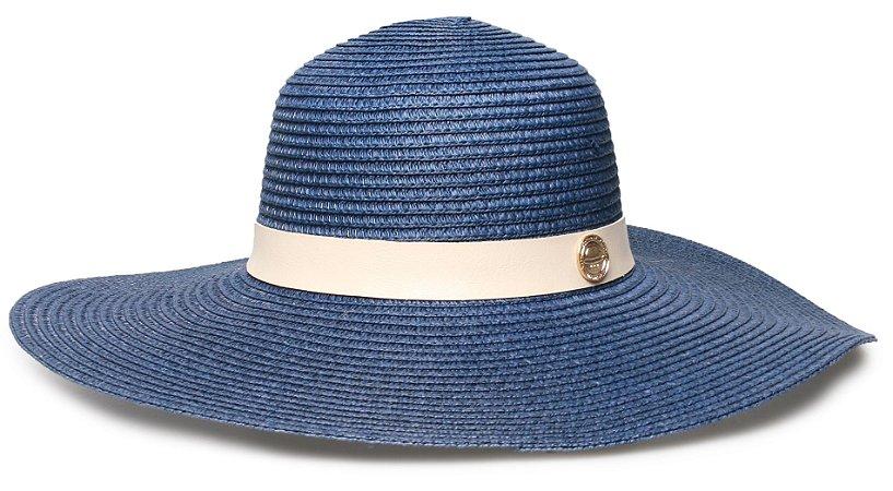 Chapéu de Praia Azul Palha Aba Grande Coleção Couro