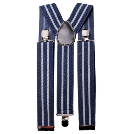 Suspensório largo 3,5 cm Azul Listras Cinza