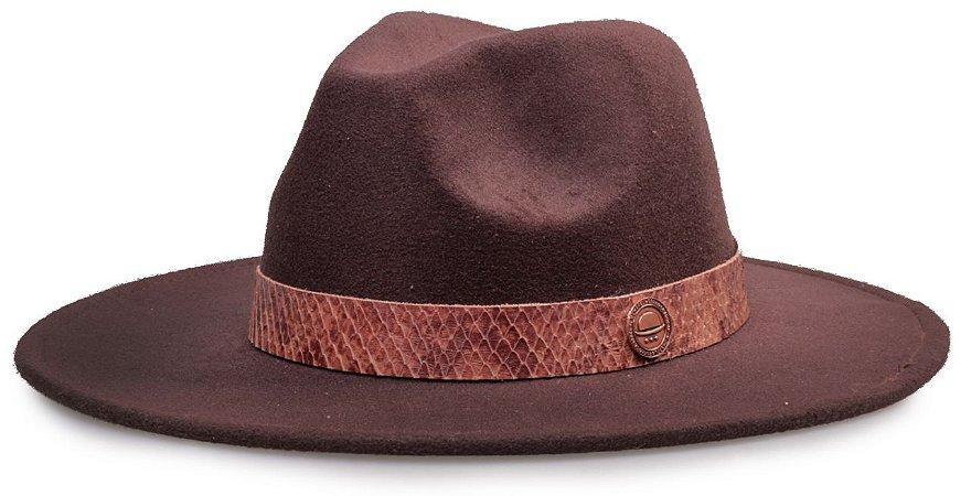 Chapéu Fedora Aba 8cm Faixa Cobra Marrom