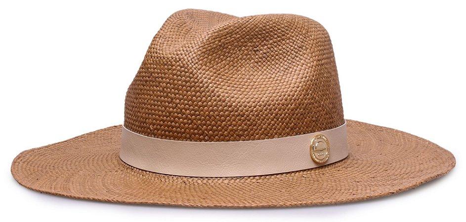 Chapéu Panamá Aba Grande Caramelo Couro Bege