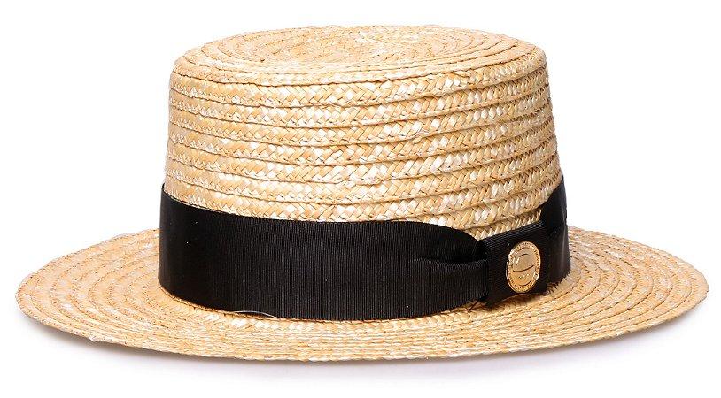 Chapéu Boater Palheta Aba curta 5cm Palha Dourada Faixa Gorgurão Preta