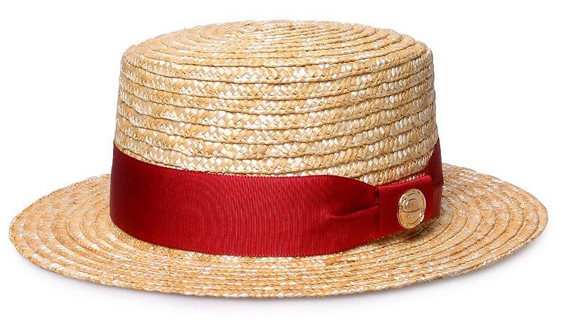 Chapéu Boater Palheta Aba Curta 5cm Palha Dourada Faixa Gorgurão Vermelho