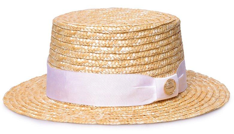 Chapéu Palha Dourada Palheta Aba Curta 5cm Faixa Gorgurão Branco