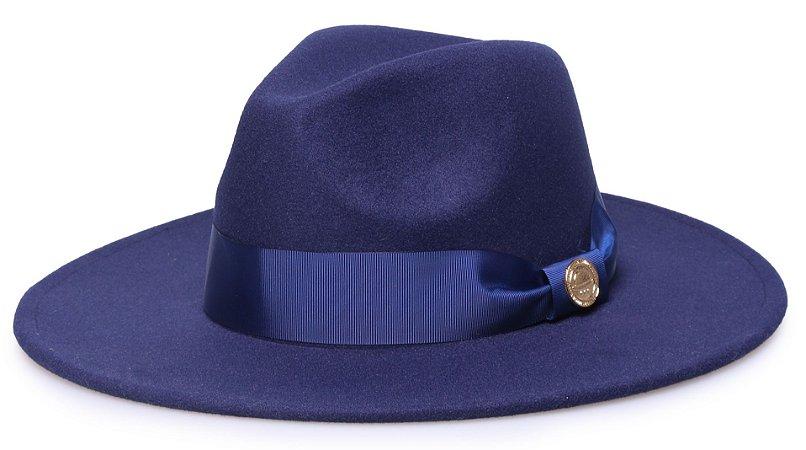Chapéu Fedora Azul Marinho Aba 8cm Gorgurão Azul