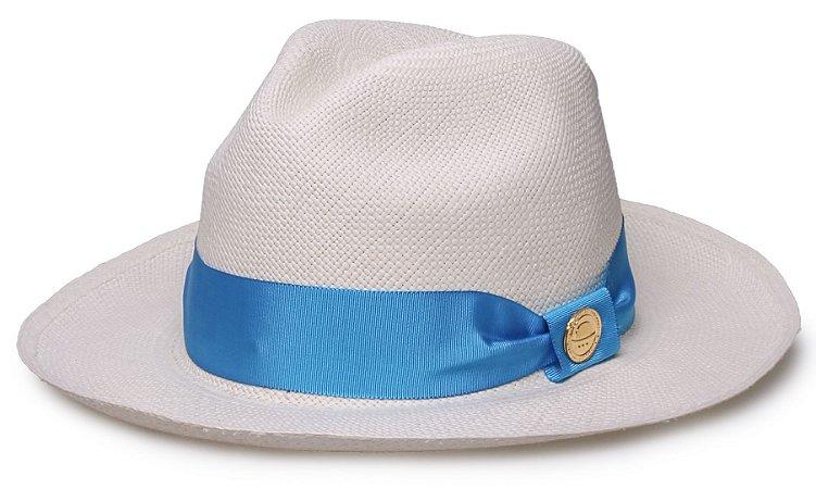 Chapéu Panamá Legítimo Aba Média Faixa Gorgurão Azul