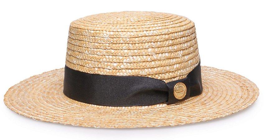 Chapéu Palheta Palha Dourada Aba Grande 9cm Faixa Preto - Coleção Gorgurão