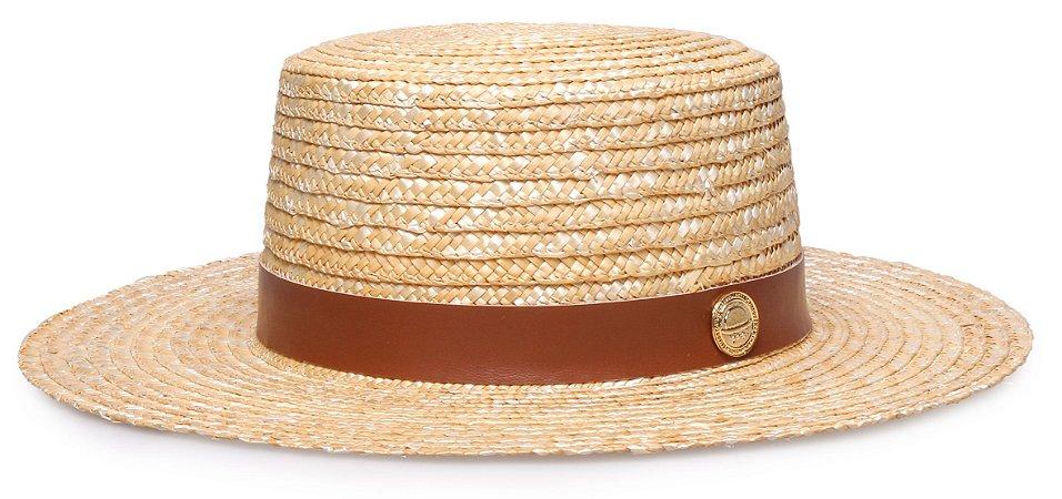 Chapéu Palheta Palha Dourada Aba 9 cm Couro Caramelo