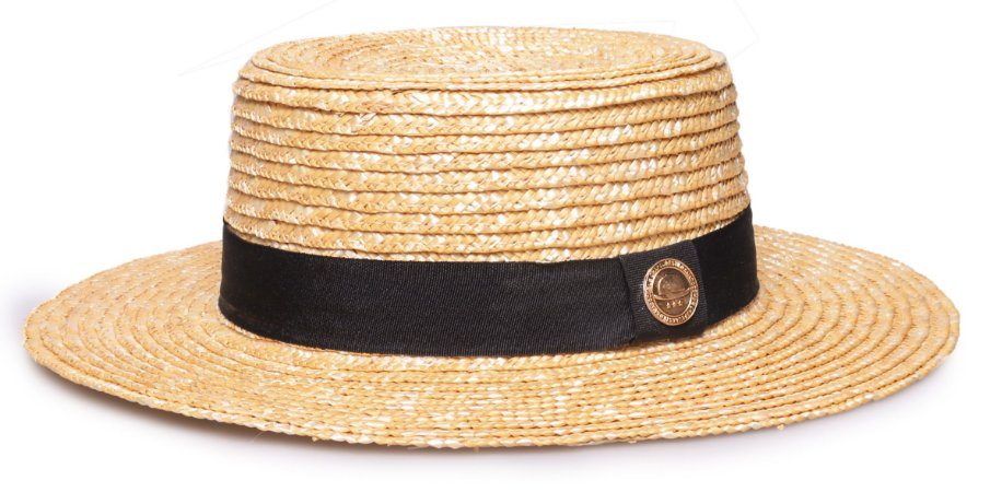 Chapéu Boater Palheta Palha Dourada Aba média 7cm Clássico
