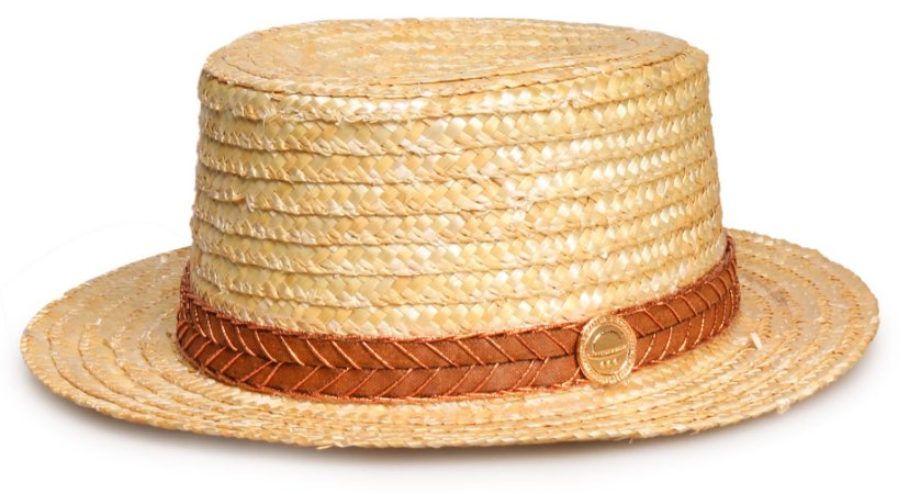 Chapéu Palheta Palha Dourada Faixa Custom Caramelo Lurex