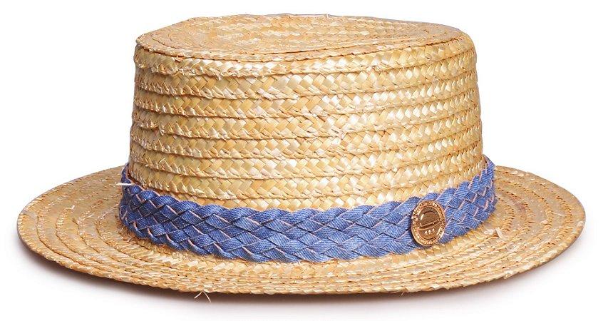 Chapéu Palheta Palha Dourada Faixa Custom Azul Jeans
