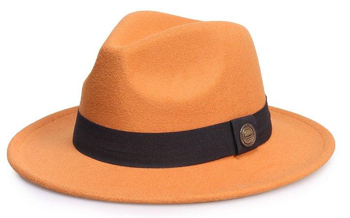 Chapéu Fedora Caramelo Claro Aba Reta 6,5cm Feltro Faixa Clássica