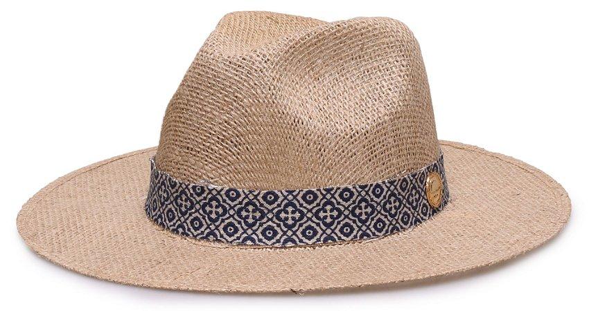 Chapéu Fedora de Palha Juta Natural Faixa Customizada Azul