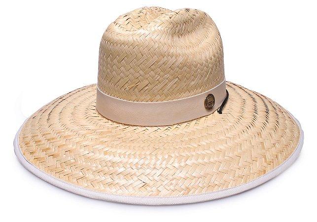 Chapéu de Palha Surfista Aba Grande Bege