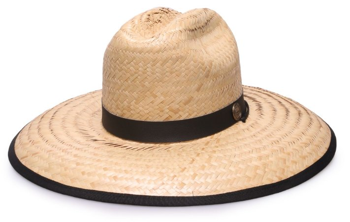 Chapéu de Palha Surf Aba Grande Tecido Preto