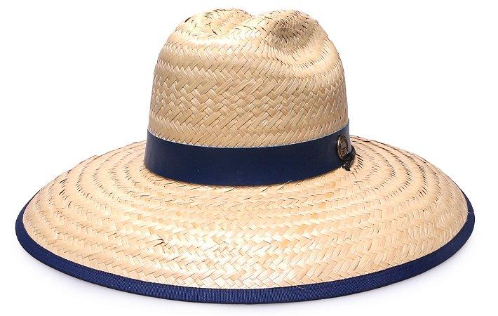 Chapéu de Palha Surf Aba Grande 12cm Faixa Azul Marinho - Coleção Couro
