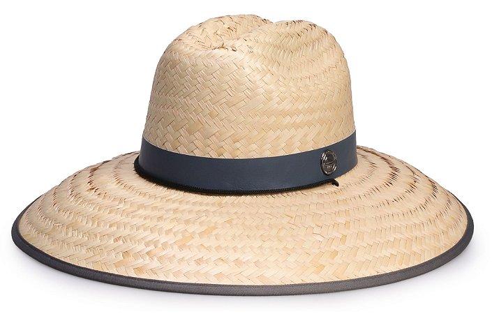 Chapéu de Palha Surf Aba Grande Tecido Cinza