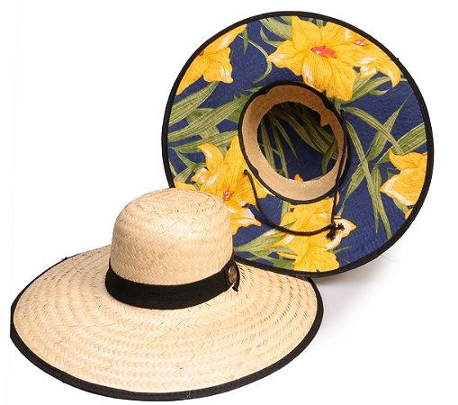 Chapéu de Palha Surf Estampado Flor Amarela