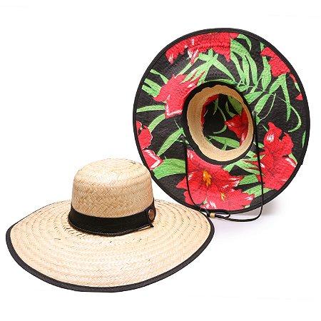 Chapéu de Palha Surf Estampado Flor Vermelha