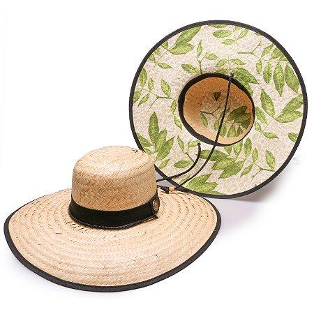 Chapéu de Palha Surf Estampado Folhas Verdes