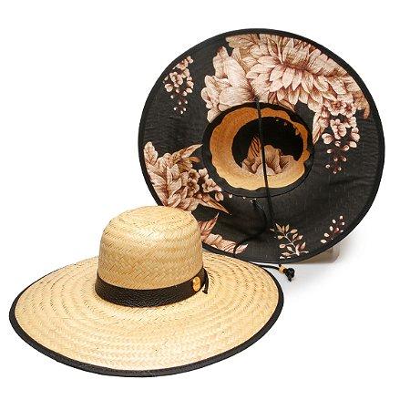 Chapéu de Palha Surf Estampado Preto