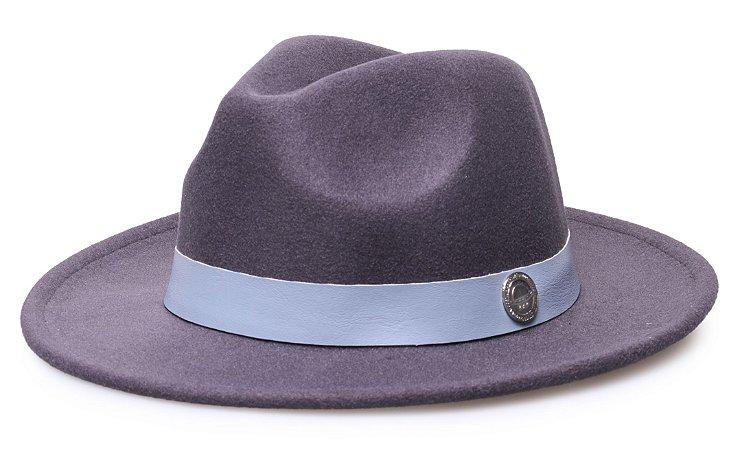 Chapéu Fedora Cinza Grafite Aba Média 6,5cm Faixa Azul