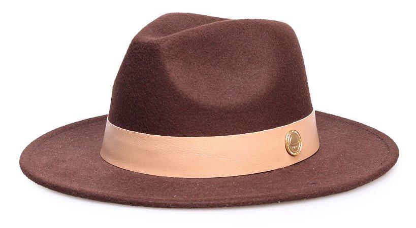Chapéu Fedora Marrom Aba 7 cm Faixa Nude