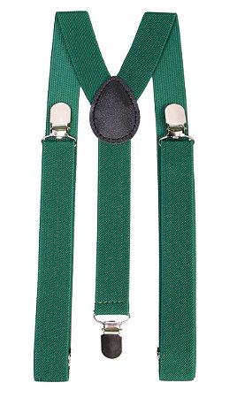 Suspensório Adulto Verde couro Preto 2,5cm