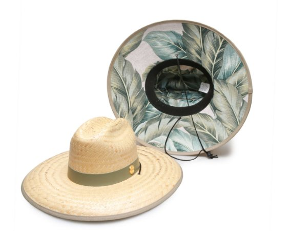 Chapéu de Palha Surf Estampado Folhas Verdes e Azul