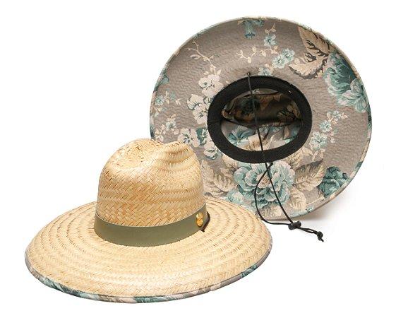 Chapéu de Palha Surf Estampado Flower Cinza