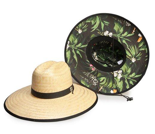 Chapéu de Palha Surf Estampado Preto Folhas Verdes Fundo Preto