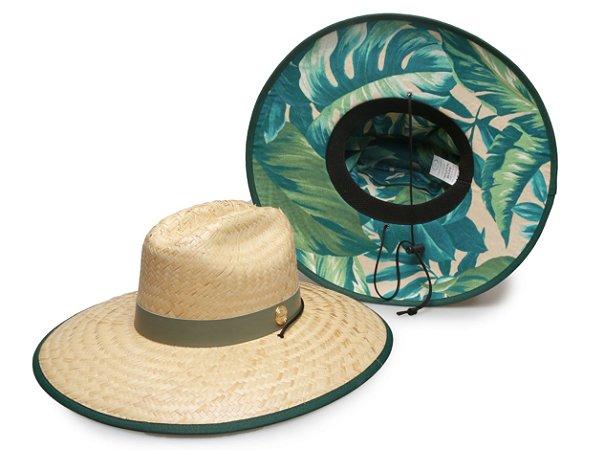 Chapéu de Palha Surf Estampado Flower Verde