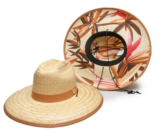 Chapéu de Palha Surf Estampado Caramelo Folhas Bege