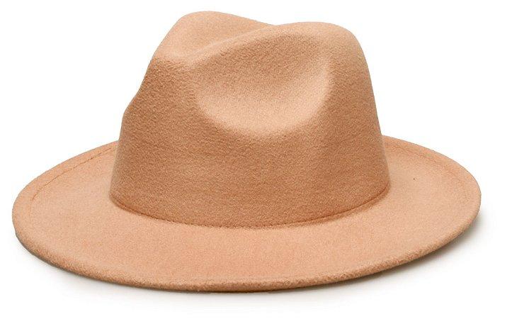 Chapéu Fedora Bege Aba média 6,5 cm Liso Unissex