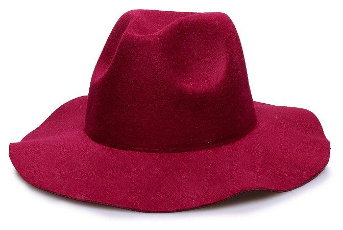 Chapéu Fedora Vinho Aba Maleável 7cm Liso