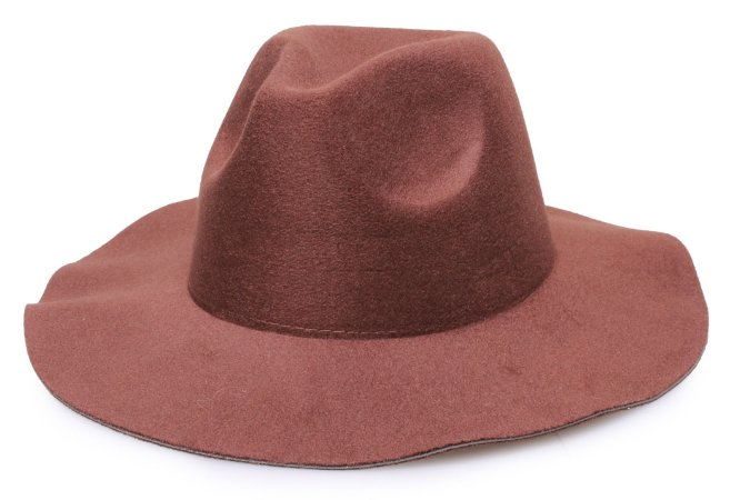 Chapéu Fedora Marrom Aba Maleável 8cm Liso