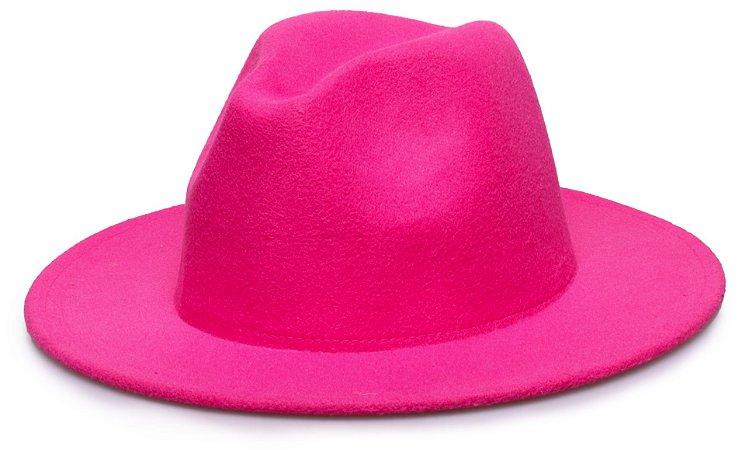 Chapéu Fedora Rosa Pink Aba 7cm Liso