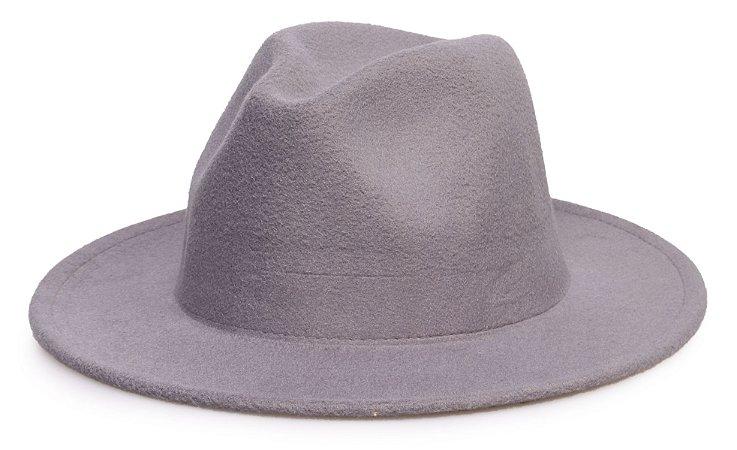 Chapéu Fedora Cinza Aba média 7cm Liso