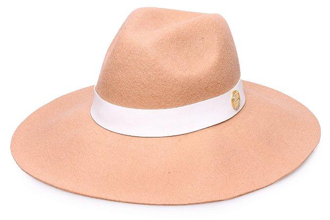 Chapéu Fedora Bege 100% lã Aba Maleável 9,5cm Coleção Couro