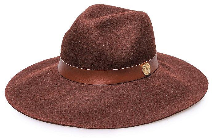 Chapéu Fedora Marrom 100% lã Aba Maleável 9,5cm Coleção Couro