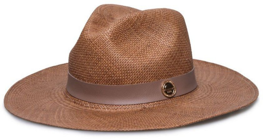 Chapéu Panamá Aba Grande Caramelo Coleção Couro Nude