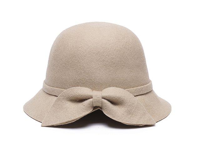Chapéu Clochê Bege Aba 5cm Com Laço 100% Lã Feminino