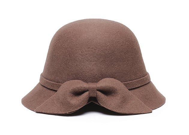 Chapéu Clochê Caramelo Aba 5cm Com Laço 100% Lã Feminino